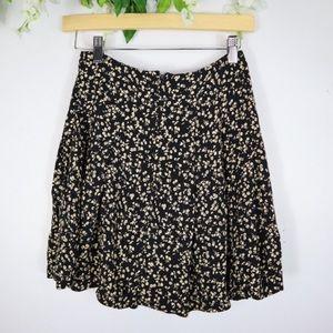 Betsey Johnson Black Floral Mini Skater Skirt XS